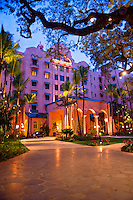 The world famous Royal Hawaiian Hotel on Waikiki Beach, Honolulu.