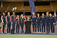 Feb 9, 2018; Asheville, NC, USA;<br /> Official Draw<br /> Serena Williams (USA), Coco Vandeweghe (USA), Venus Williams (USA), Lauren Davis (USA), Team Captain, Kathy Rinaldi, Team Captain, Paul Haarhuis (NED), Demi Schuurs (NED), Lesley Kerkhove (NED), Arantxa Rus (NED) and Richel Hogenkamp, (NED)