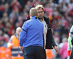 Ronald Koeman manager of Everton and Jurgen Klopp manager of Liverpool shake hands on the final whistle during the English Premier League match at Anfield Stadium, Liverpool. Picture date: April 1st 2017. Pic credit should read: Simon Bellis/Sportimage