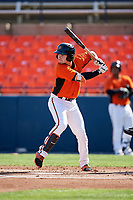 Frederick Keys second baseman Preston Palmeiro (7) at bat during the first game of a doubleheader against the Lynchburg Hillcats on June 12, 2018 at Nymeo Field at Harry Grove Stadium in Frederick, Maryland.  Frederick defeated Lynchburg 2-1.  (Mike Janes/Four Seam Images)