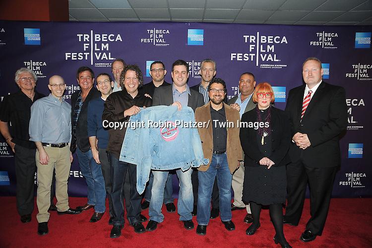"group shot at ""Evocateur: The Morton Downey, Jr Movie"" screening at Tribeca Film Festival on April 19, 2012 at The Chelsea Clearview Cinema in New York City."