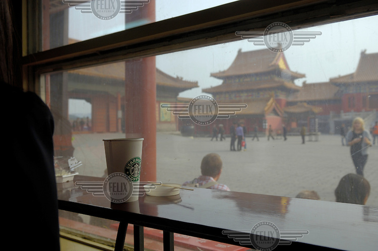 The controversial Starbucks coffee shop in the Forbidden City.