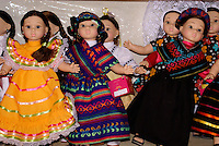 Dolls wearing traditional Mexican regional costumes, Manos Creativas cooperative,  Mineral de Pozos, Guanajuato, Mexico.