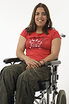 Young woman with Cerebral Palsy in a wheel chair, smiling. MR