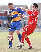 Darren Quinton (R) of Aveley and Danny Rafis of Romford - Romford vs Aveley - Pre-Season Friendly Match at Mill Field, Aveley FC - 31/07/10 - MANDATORY CREDIT: Gavin Ellis/TGSPHOTO - Self billing applies where appropriate - Tel: 0845 094 6026