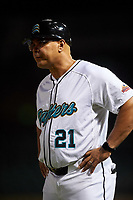 Salt River Rafters manager Keith Johnson (21), of the Miami Marlins organization, during an Arizona Fall League game against the Mesa Solar Sox on September 19, 2019 at Salt River Fields at Talking Stick in Scottsdale, Arizona. Salt River defeated Mesa 4-1. (Zachary Lucy/Four Seam Images)