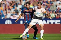 27th October 2019; Estadi Cuitat de Valencia, Valencia, Spain; La Liga Football, Levante versus Espanyol; Victor Sanchez of RC Espanyol takes on Jose Campaña of Levante UD - Editorial Use