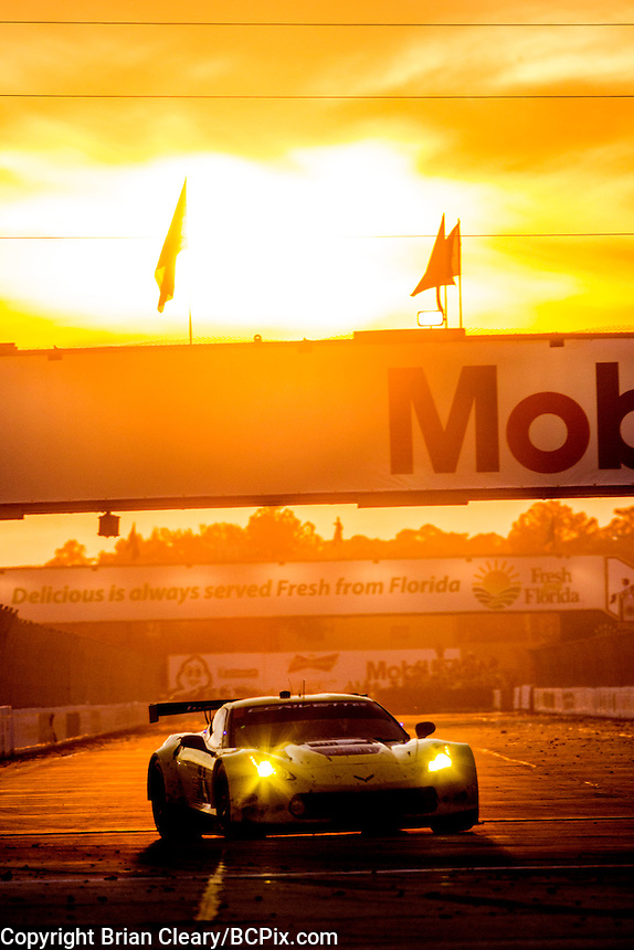 Sunset Corvette, 12 Hours of Sebring, Sebring International Raceway, Sebring, FL, March 2015.  (Photo by Brian Cleary/ www.bcpix.com )