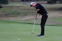 Marcel Siem (GER) on the 16th green during Round 1of the Sky Sports British Masters at Walton Heath Golf Club in Tadworth, Surrey, England on Thursday 11th Oct 2018.<br /> Picture:  Thos Caffrey | Golffile<br /> <br /> All photo usage must carry mandatory copyright credit (© Golffile | Thos Caffrey)