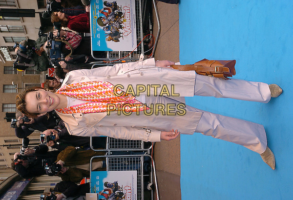 OLIVIA WILLIAMS.Valiant Premiere, Odeon West End, Leicester Square.March 20th, 2005.full length pink and orange scarf beige jacket coat.www.capitalpictures.com.sales@capitalpictures.com.©Capital Pictures