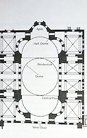 World Civilization:  Byzantium--Plan of Hagia Sophia.  Former Orthodox patriarchal basilica, later a mosque, and now a museum in Istanbul, Turkey.