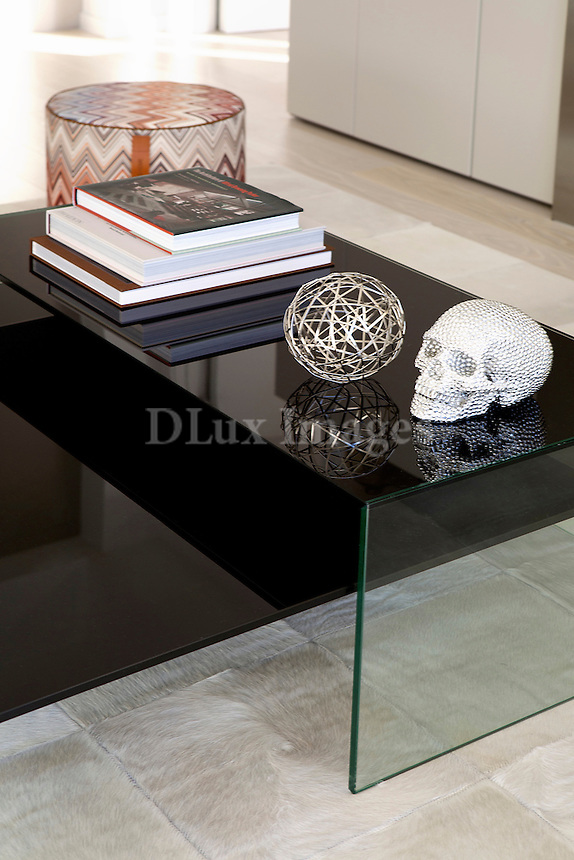 modern black glass table