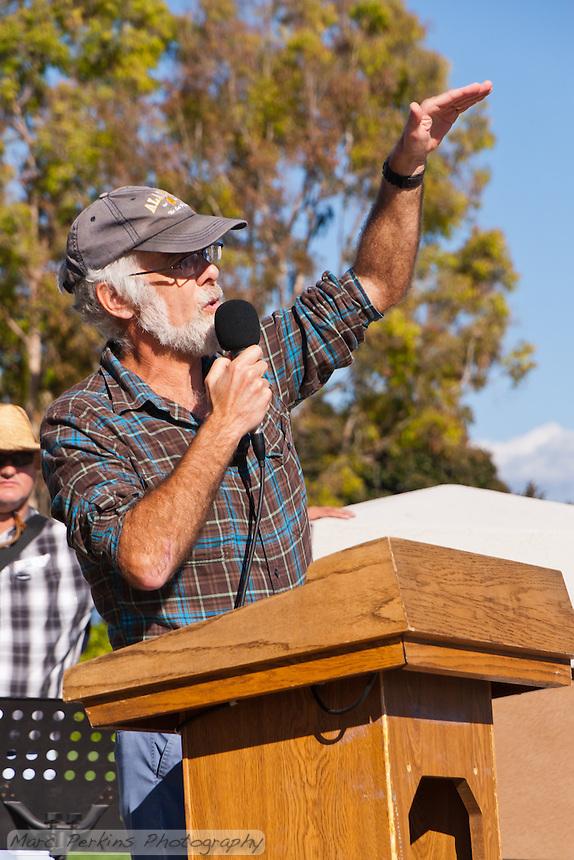 A professor from UC Irvine talks at the Occupy Orange County, Irvine camp on November 5.