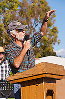 A professor from UC Irvine talks at the Occupy Orange County, Irvine camp on November 5.