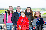 L-r Aine Enright, Tom Enright, Niamh Enright, Rachel Aiquel and Jeanne Preau from Tarbert. at the Listowel Harvest Racing Festival on Sunday