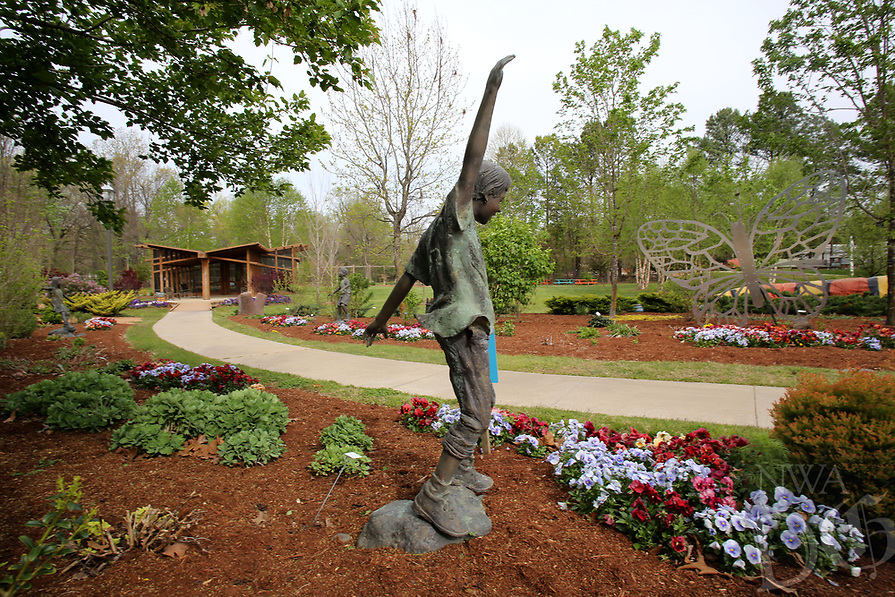 NWA Democrat-Gazette/DAVID GOTTSCHALK  One of the garden areas April 11, 2017, in the Botanical Garden of the Ozarks in Fayetteville. The Fayetteville City Council will vote on a proposal to allow the Botanical Garden of the Ozarks to expand onto about 2 acres northwest of the garden to build a 2,800 square foot operations center.