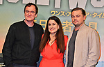 "(L-R) Director Quentin Tarantino,  Producer Shannon McIntosh and actor Leonardo DiCaprio attend the press conference for ""Once upon a time in Hollywood"" at the Ritz-Carlton Tokyo in Tokyo, Japan on August 26, 2019. (Photo by AFLO)"