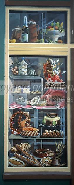 Europe/France/Rhône-Alpes/69/Rhone/Lyon: Mur Peint La Fresque des Lyonnais rue de la Martiniere detail - la Gastronomie Lyonnaise [Non destiné à un usage publicitaire - Not intended for an advertising use]