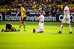 11.05.2019, Signal Iduna Park, Dortmund, GER, 1.FBL, Borussia Dortmund vs Fortuna Düsseldorf, DFL REGULATIONS PROHIBIT ANY USE OF PHOTOGRAPHS AS IMAGE SEQUENCES AND/OR QUASI-VIDEO<br /> <br /> im Bild | picture shows:<br /> nach Zusammenprall bleiben Paco Alcacer (Borussia Dortmund #9) und Adam Bodzek (Fortuna #13) am Boden, <br /> <br /> Foto © nordphoto / Rauch