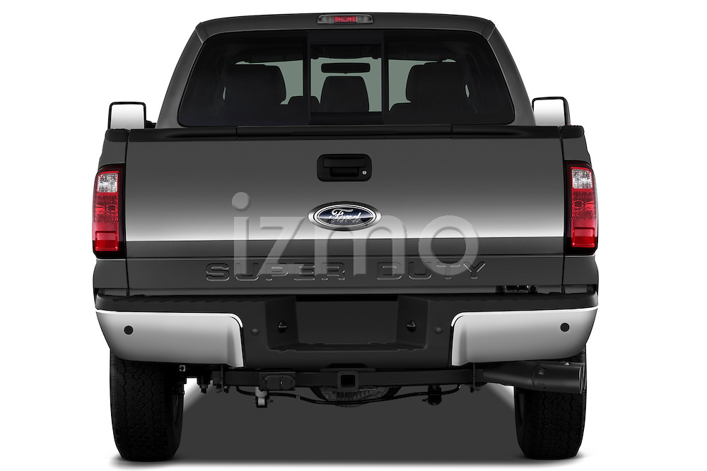 Straight rear view of a 2011 Ford F-250 Crew Cab 4x4