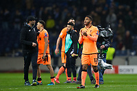 Liverpool's Joe Gomez applauds the fans at the final whistle <br /> <br /> Photographer Craig Mercer/CameraSport<br /> <br /> UEFA Champions League Round of 16 First Leg - FC Porto v Liverpool - Wednesday 14th February 201 - Estadio do Dragao - Porto<br />  <br /> World Copyright &copy; 2018 CameraSport. All rights reserved. 43 Linden Ave. Countesthorpe. Leicester. England. LE8 5PG - Tel: +44 (0) 116 277 4147 - admin@camerasport.com - www.camerasport.com
