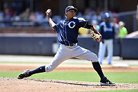 Charleston RiverDogs starting pitcher Jhony Brito (31) delivers a pitch during a game against the Asheville Tourists at McCormick Field on August 18, 2019 in Asheville, North Carolina. The Tourists defeated the RiverDogs 6-5. (Tony Farlow/Four Seam Images)