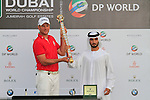 Robert Karlsson winner of the Dubai World Championship presented by His Highness Sheikh Hamdan bin Mohammed bin Rashid Al Maktoum at the end of the Final Day of the Dubai World Championship, Earth Course, Jumeirah Golf Estates, Dubai, 28th November 2010..(Picture Eoin Clarke/www.golffile.ie)