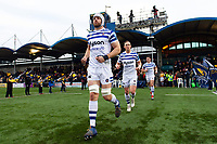 Dave Attwood and the rest of the Bath Rugby team run onto the field. Gallagher Premiership match, between Worcester Warriors and Bath Rugby on January 5, 2019 at Sixways Stadium in Worcester, England. Photo by: Patrick Khachfe / Onside Images