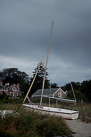 Sailboat on beach, Vineyard Haven, Martha's Vineyard, Massachusetts, USA