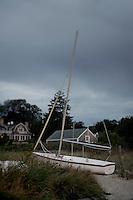 Sailboat on beach, Vineyard Haven, Martha's Vineyard, Massachusetts, USA