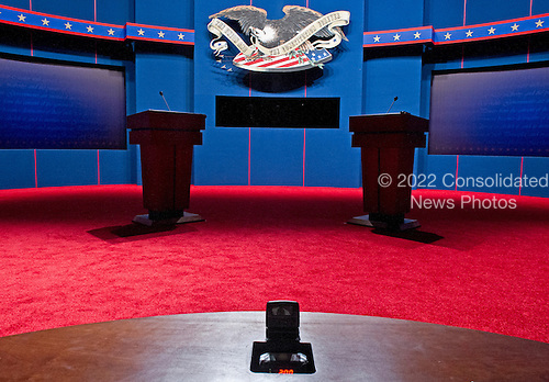 View from the moderator's chair of the stage for the First 2012 Presidential Debate at the University of Denver in Denver Colorado on Tuesday, October 2, 2012..Credit: Ron Sachs / CNP.(RESTRICTION: NO New York or New Jersey Newspapers or newspapers within a 75 mile radius of New York City)