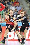 Rhein Neckar Loewe Jesper Nielsen (Nr.36) am kreis gegen Kristianstads Philip Henningsson (Nr.6) und Kristianstads Arnar Freyr Arnarsson (Nr.5) beim Spiel in der Champions League, Rhein Neckar Loewen - IFK Kristianstad.<br /> <br /> Foto &copy; PIX-Sportfotos *** Foto ist honorarpflichtig! *** Auf Anfrage in hoeherer Qualitaet/Aufloesung. Belegexemplar erbeten. Veroeffentlichung ausschliesslich fuer journalistisch-publizistische Zwecke. For editorial use only.