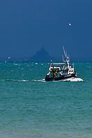 France, Ille-et-Vilaine (35), côte d'émeraude, Cancale, vue sur baie du Mont Saint-Michel  et retour de pêche // France, Ille et Vilaine, cote d'emeraude (Emerald Coast), Cancale, view over  Mont Saint Michel bay,