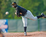 12 July 2015: West Virginia Black Bears pitcher Cesilio Pimentel on the mound against the Vermont Lake Monsters at Centennial Field in Burlington, Vermont. The Lake Monsters rallied to defeat the Black Bears 5-4 in NY Penn League action. Mandatory Credit: Ed Wolfstein Photo *** RAW Image File Available ****