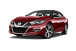 Stock pictures of low aggressive front three quarter view of 2016 Nissan Maxima Platinum 4 Door Sedan Low Aggressive