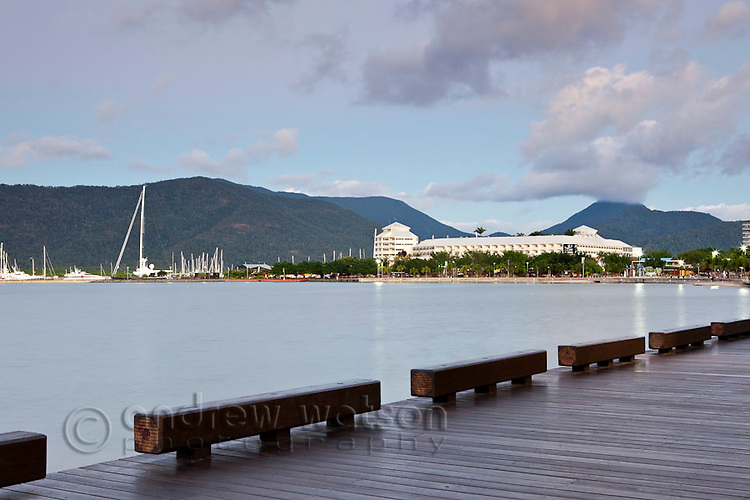 The Esplanade boardwalk with The Pier at the Marina in background.  Cairns, Queensland, Australia