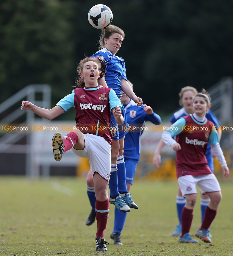 Hope Suominen of Cardiff City and Danni Ritson of West Ham United during West Ham United Ladies vs Cardiff City Ladies, FA Women's Premier League Football at Hornchurch Stadium on 20th March 2016