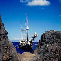 Schooner at anchorage,los Cristianos, Tenerife, Canary Islands,Spain