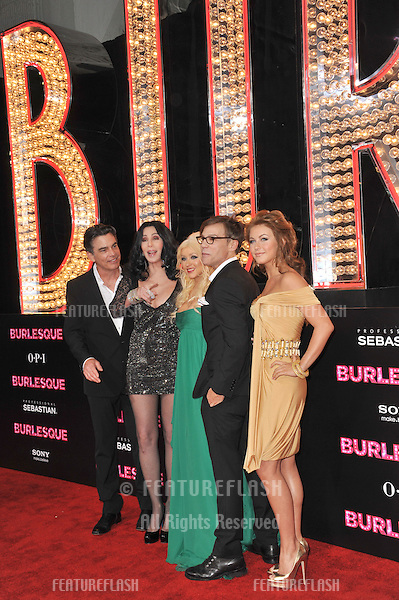 """LtoR: Peter Gallagher, Cher, Christina Aguilera, director Steven Antin & Julianne Hough at the Los Angeles premiere of their new movie """"Burlesque"""" at Grauman's Chinese Theatre, Hollywood..November 15, 2010  Los Angeles, CA.Picture: Paul Smith / Featureflash"""