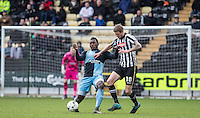 Aaron Pierre of Wycombe Wanderers & Jonathan Stead of Notts County battle during the Sky Bet League 2 match between Notts County and Wycombe Wanderers at Meadow Lane, Nottingham, England on 28 March 2016. Photo by Andy Rowland.