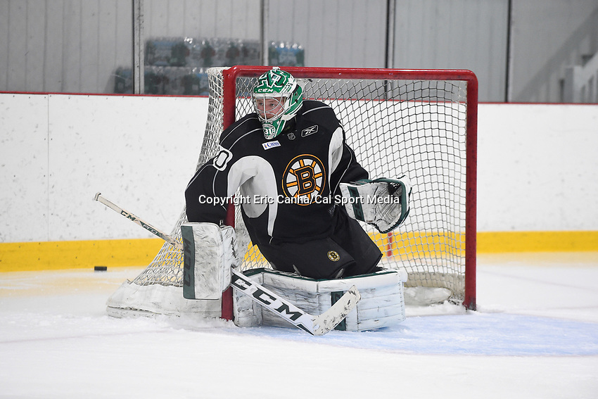 July 14, 2015 - Wilmington, Massachusetts, U.S. - Goalie Zane McIntyre (60) works on drills during the Boston Bruins development camp held at Ristuccia Arena in Wilmington Massachusetts. Eric Canha/CSM