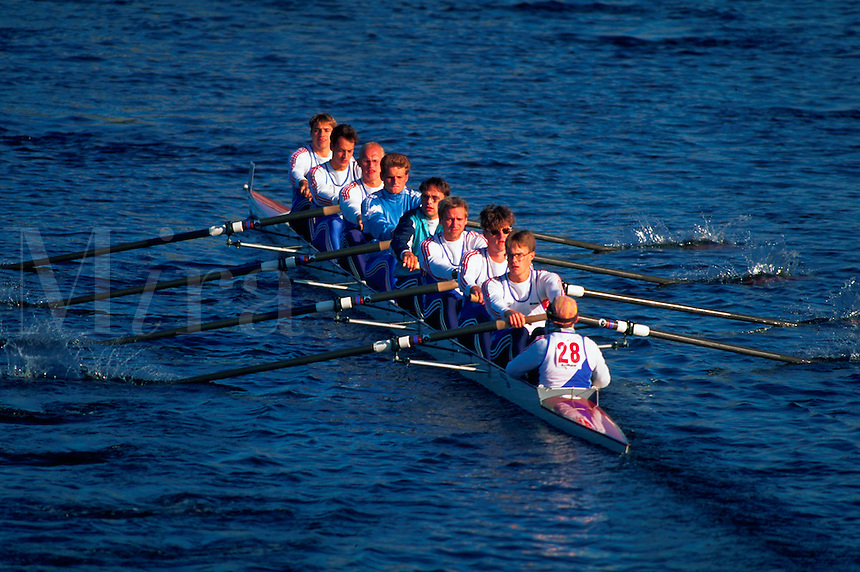 Young men rowing in the Head of the Charles Regatta. Cambridge, Massachusetts.