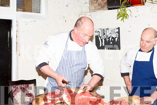 Peter Curran and Stuart Purcell of the Well Bred Butchers giving a demonstration on meats on Thursday night last at the Croi Restruarant.