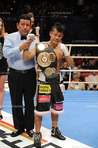 Koki Kameda (JPN),.APRIL 7, 2013 - Boxing :.Koki Kameda of Japan looks dejected as he poses with his champion belt after the WBA bantamweight title bout at Bodymaker Colosseum (Osaka Prefectural Gymnasium) in Osaka, Japan. (Photo by Mikio Nakai/AFLO)