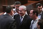Kadima MK Haim Ramon says farewell to Israel Prime Minister, Benjamin Netanyahu, after Ramon's parting speech at Israel's Knesset (Parliament) in Jerusalem, July 1, 2009. Ramon announced his resignation on Monday from political life, after nearly 26 years in parliament. Ramon's political career was deeply hurt after he was convicted of sexual misconduct in a case that riveted the country's attention a few years ago, after which he resigned from his post as justice minister. After Ramon finished serving his 120-hours of community service in 2007 he returned to political life, which will be officially over on Thursday. Photo By: Emil Salman / JINI
