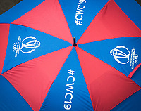 A CWC2019 umbrella in good use at Bristol during Pakistan vs Sri Lanka, ICC World Cup Cricket at the Bristol County Ground on 7th June 2019