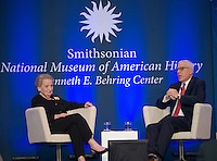 "Washington DC,September 7, 2016, USA: Former Secretary of State Madeleine Albright and David Rubenstein, a Smithsonian Regent chat before she receives  The National Museum of American History l ""Great Americans"" award in Washington DC.   Photo by Patsy Lynch/MediaPunch"