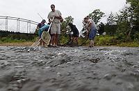 NWA Democrat-Gazette/FLIP PUTTHOFF <br /> Fish netters check a shoal Sept. 10 2016 on the War Eagle River.