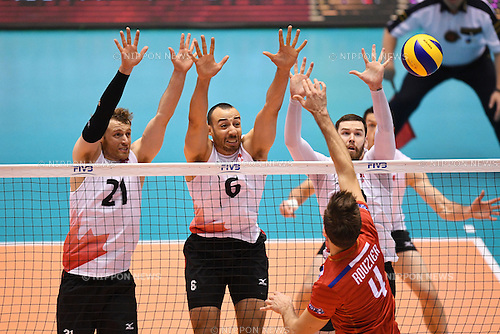 (L-R) Jay Blankenau, Justin Duff, Steven Marshall (CAN), <br /> JUNE 2, 2016 - Volleyball :<br /> Men's Volleyball World Final Qualification for the Rio de Janeiro Olympics 2016<br /> match between France 3-0 Canada <br /> at Tokyo Metropolitan Gymnasium, Tokyo, Japan.<br /> (Photo by AFLO SPORT)