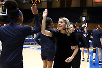 DURHAM, NC - NOVEMBER 29: Assistant coach Stephanie Carideo of the University of Pennsylvania during a game between Penn and Duke at Cameron Indoor Stadium on November 29, 2019 in Durham, North Carolina.